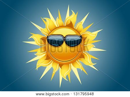 Smiling sun with sunglass in the sky