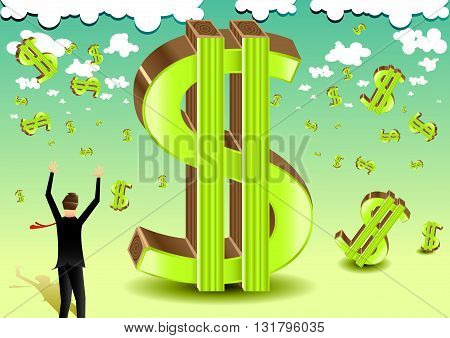 Conceptual illustration businessman and falling from the sky dollars