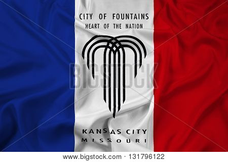 Waving Flag of Kansas City Missouri, with beautiful satin background