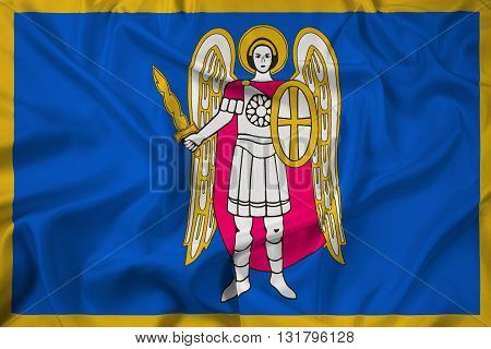Waving Flag of Kiev, with beautiful satin background