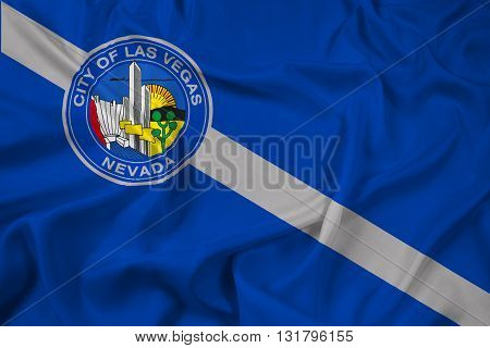Waving Flag of Las Vegas Nevada, with beautiful satin background