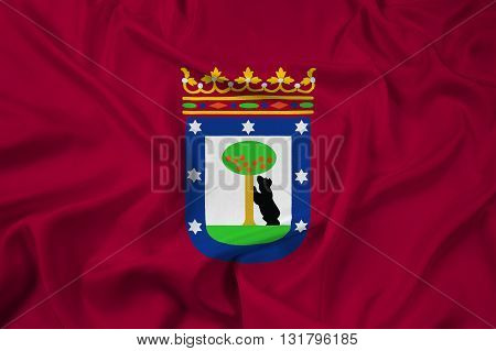 Waving Flag of Madrid, with beautiful satin background