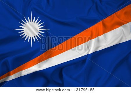 Waving Flag of Marshall Islands, with beautiful satin background