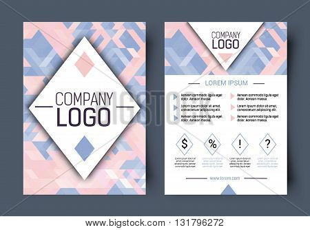 Vector Brochure corporate blank template. Front page and back page. Abstract brochure design. Female Brochure vector.