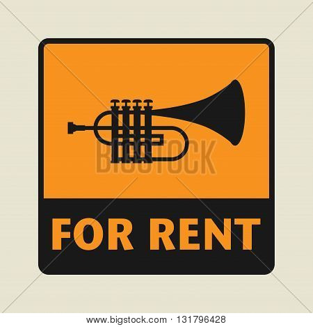 Music Equipment For Rent icon or sign vector illustration