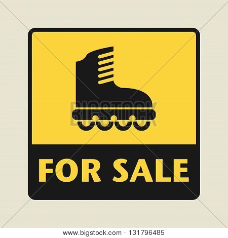 Roller blades For Sale icon or sign vector illustration
