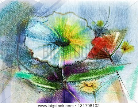 Abstract flower watercolor painting. Hand paint still life of Yellow Pink Red color daisy- gerbera floral in soft color on white blue green color background. Spring flower nature background