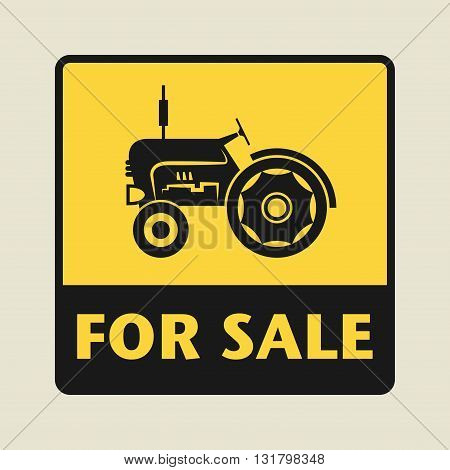 Tractor For Sale icon or sign vector illustration