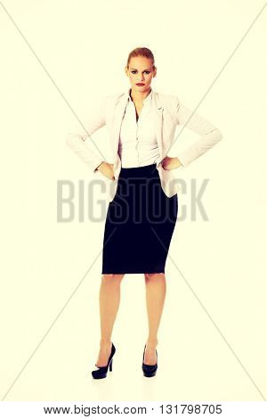 Angry blonde elegant business woman
