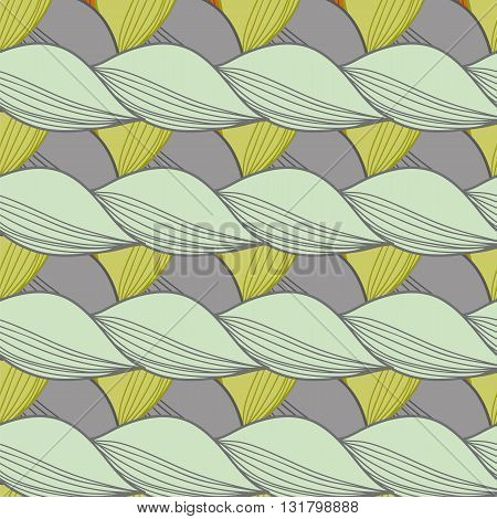 Seamless ornament. Pattern made of repeating shapes in the shape of the leaves.Vector illustration.