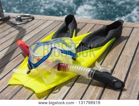 Snorkeling Equipment On The Deck Of A Motor Boat