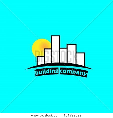 Building company logo logo construction company of tall buildings in the background sun dawn