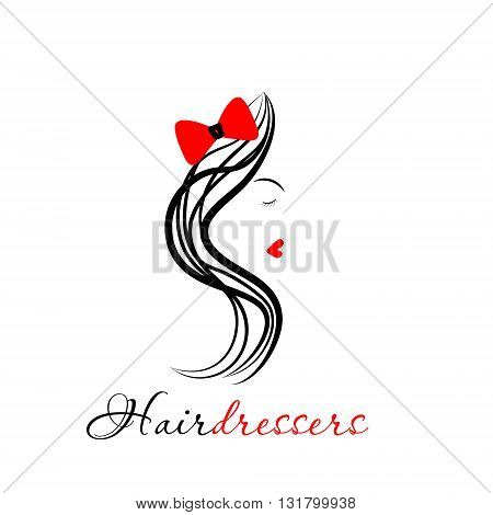 Logo Hairdressers with girl hairdresser`s logo illustration with a profile of a girl with long hair and a bow