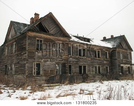 Terrible and scary abandoned house  in winter period