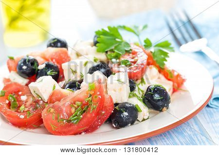 tomato salad with cheese and olives on a plate