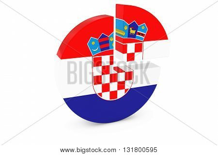 Croatian Flag Pie Chart - Flag of Croatia Quarter Graph 3D Illustration