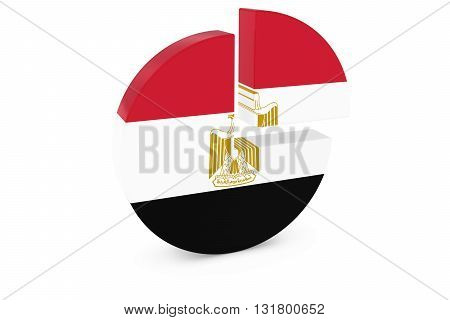 Egyptian Flag Pie Chart - Flag of Egypt Quarter Graph 3D Illustration