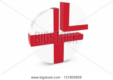 English Flag Pie Chart - Flag of England Quarter Graph 3D Illustration