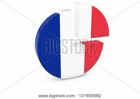 French Flag Pie Chart - Flag of France Quarter Graph 3D Illustration
