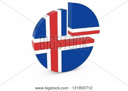 Icelandic Flag Pie Chart - Flag of Iceland Quarter Graph 3D Illustration