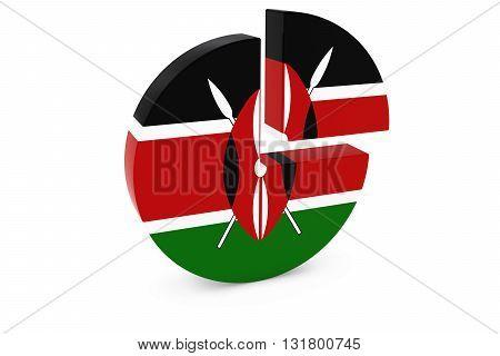 Kenyan Flag Pie Chart - Flag of Kenya Quarter Graph 3D Illustration