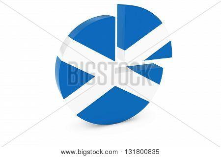 Scottish Flag Pie Chart - Flag of Scotland Quarter Graph 3D Illustration