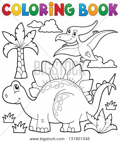 Coloring book dinosaur theme 1 - eps10 vector illustration.