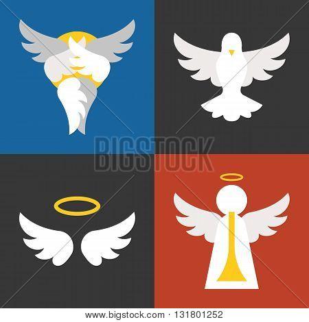 christian sign and symbol, angel, pigeon, seraphim flat design