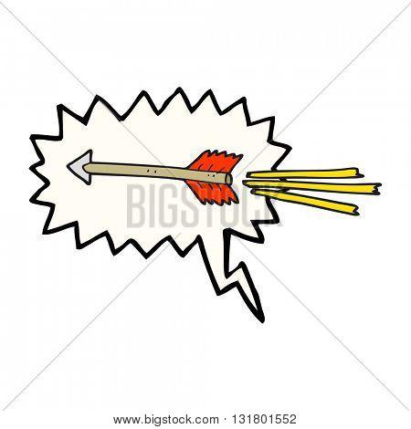 freehand drawn speech bubble cartoon flying arrow