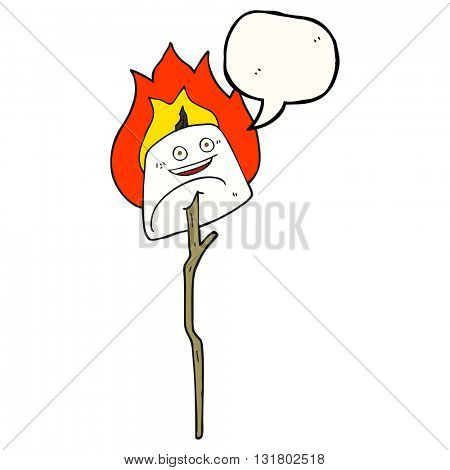freehand drawn speech bubble cartoon toasted marshmallow