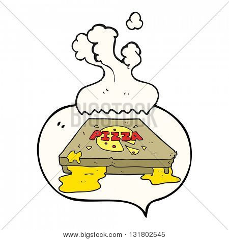 freehand drawn speech bubble cartoon pizza