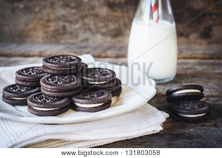 Photos of cookies time on rustic background