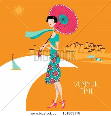 Girl with umbrella at the resort / at the seaside. Art deco. Retro. Summer time. Vector illustration