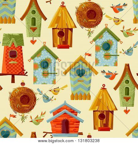Multi-colored birdhouses and birds. Seamless background pattern. Vector illustration