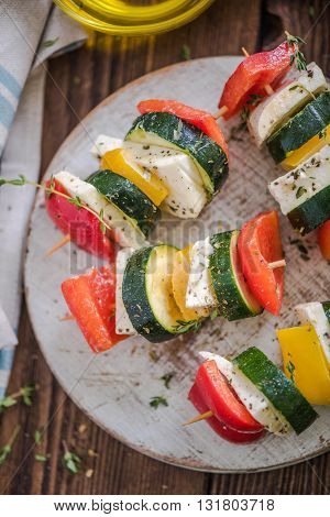 Healthy Bbq, Vegetable And Haloumi Cheese Skewers