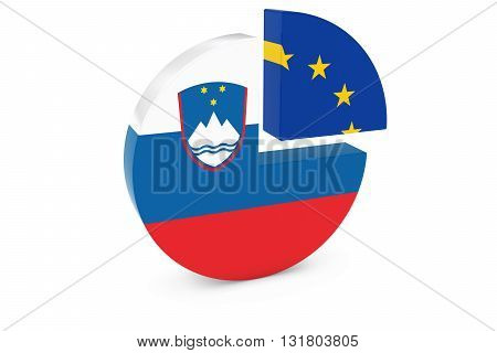 Slovenian and European Flags Pie Chart 3D Illustration