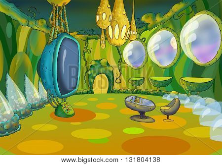 Digital Painting Illustration of a Spaceship Cabin Futuristic Interior Cartoon of Cosmic Spacecraft in SciFi Galaxy. Fantastic Cartoon Style Character Fairy Tale Story Background Card Design.
