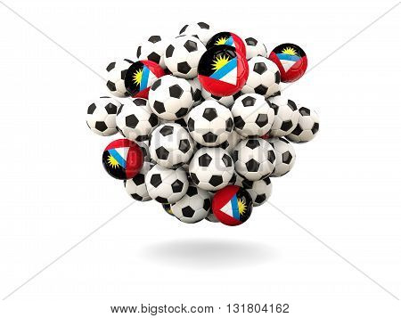 Pile Of Footballs With Flag Of Antigua And Barbuda