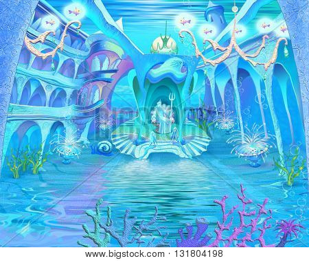 Digital Painting Illustration of a Mysterious and Fantasy Undersea Atlantis Castle. Fantastic Cartoon Style Character Fairy Tale Story Background Card Design