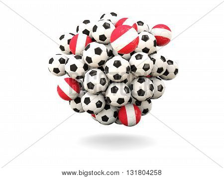 Pile Of Footballs With Flag Of Austria