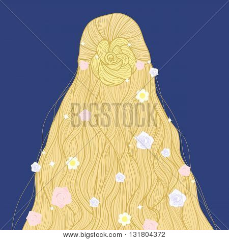 Hand-drawn blonde fairy long beautiful hairstyle with flowers