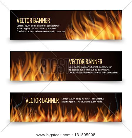 Hot fire advertisement vector horizontal banners set.  Banner with flame and fire, advertising banner fiery heat illustration