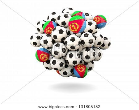 Pile Of Footballs With Flag Of Eritrea