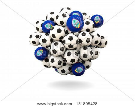 Pile Of Footballs With Flag Of Guam