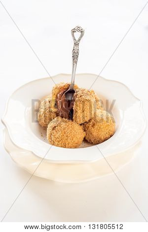Photos of stuffed dumplings on white background