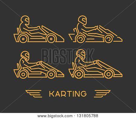 Line karting and go kart symbol. Silhouette figures kart racer. Linear sport symbol label and badge.