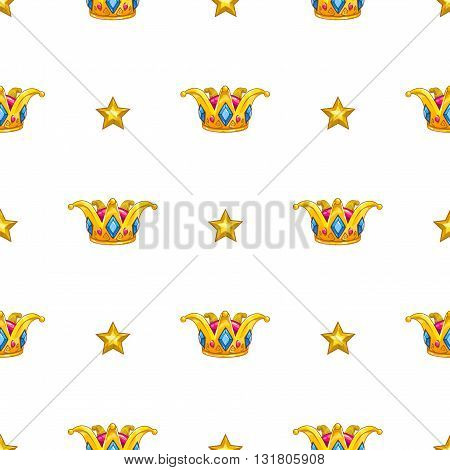 Seamless pattern with fancy cartoon vector golden crown and gold stars on white background, royal vector texture