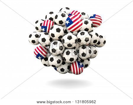 Pile Of Footballs With Flag Of Liberia