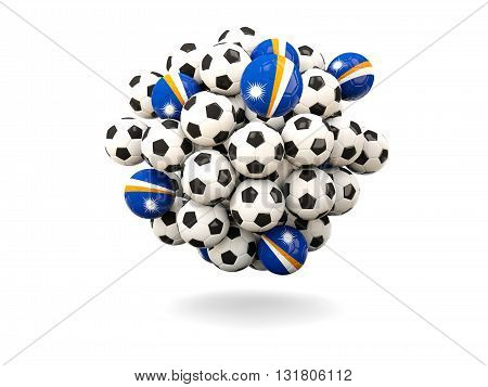 Pile Of Footballs With Flag Of Marshall Islands