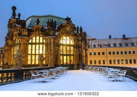Zwinger Palace in Dresden in the winter after sunset
